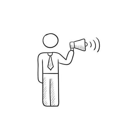 noisiness: Businessman with megaphone vector sketch icon isolated on background. Hand drawn Businessman with megaphone icon. Businessman with megaphone sketch icon for infographic, website or app.
