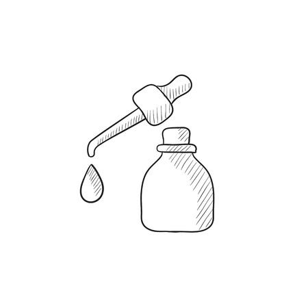 Bottiglia di olio essenziale e pipetta con goccia vettore icona dello schizzo isolato su sfondo. A mano essenziale icona del petrolio e pipetta. Bottiglia di essenziale icona dello schizzo di olio per infografica, sito web o un'applicazione. Vettoriali