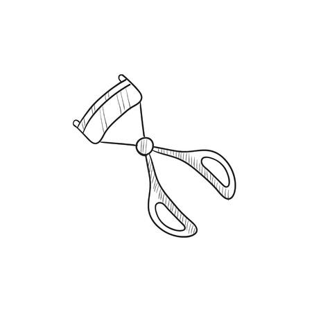 curler: Eyelash curler vector sketch icon isolated on background. Hand drawn Eyelash curler icon. Eyelash curler sketch icon for infographic, website or app. Illustration