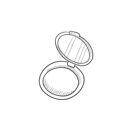 Powder box Vektor-Skizze-Symbol auf Hintergrund isoliert. Hand gezeichnet Powder Box-Symbol. Powder Box Skizze Symbol für Infografik, die Website oder App. Standard-Bild - 57691394