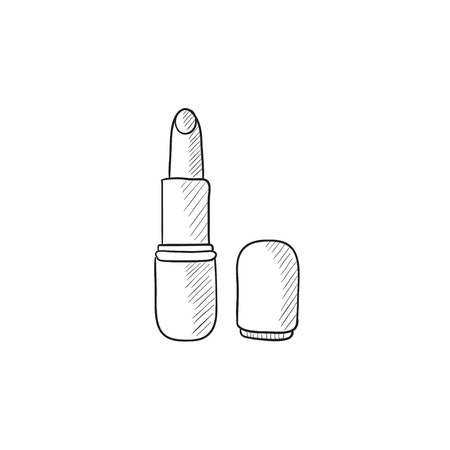 pomatum: Lipstick vector sketch icon isolated on background. Hand drawn Lipstick icon. Lipstick sketch icon for infographic, website or app.