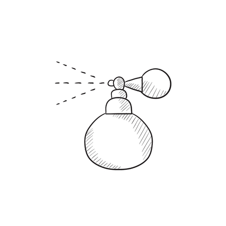 pulverizer: Perfume bottle spraying vector sketch icon isolated on background. Hand drawn Perfume bottle spraying icon. Perfume bottle spraying sketch icon for infographic, website or app.