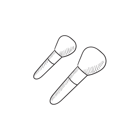 makeup brushes: Makeup brushes vector sketch icon isolated on background. Hand drawn Makeup brushes icon. Makeup brushes sketch icon for infographic, website or app.