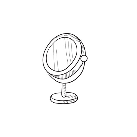 reflection mirror: Round makeup mirror vector sketch icon isolated on background. Hand drawn Round makeup mirror icon. Round makeup mirror sketch icon for infographic, website or app. Illustration
