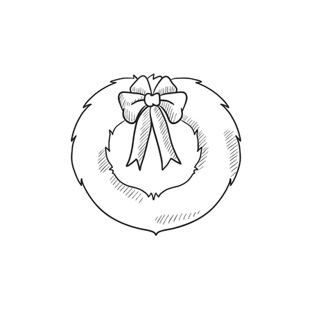 Christmas wreath vector sketch icon isolated on background. Hand drawn Christmas wreath icon. Christmas wreath sketch icon for infographic, website or app.