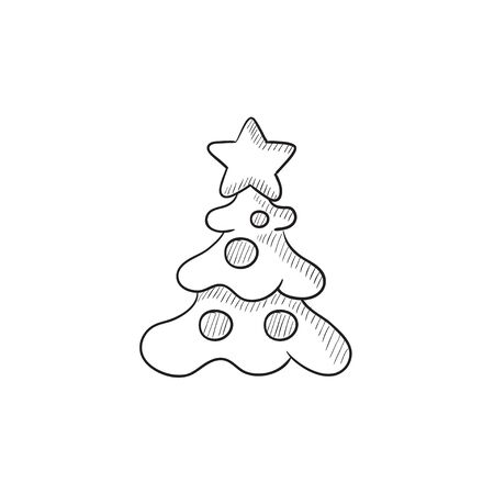 winter tree: Christmas tree with decoration vector sketch icon isolated on background. Hand drawn Christmas tree with decoration icon. Christmas tree with decoration sketch icon for infographic, website or app.