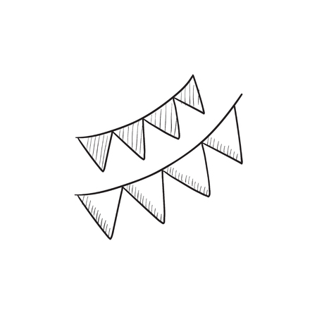 Christmas triangular flags vector sketch icon isolated on background. Hand drawn Christmas triangular flags icon. Christmas triangular flags sketch icon for infographic, website or app.