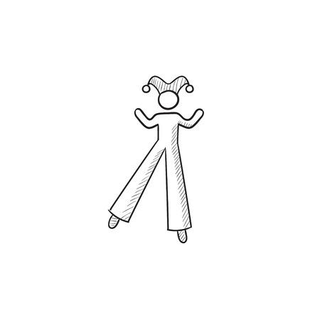 stilt: Clown on stilts vector sketch icon isolated on background. Hand drawn Clown on stilts icon. Clown on stilts sketch icon for infographic, website or app.