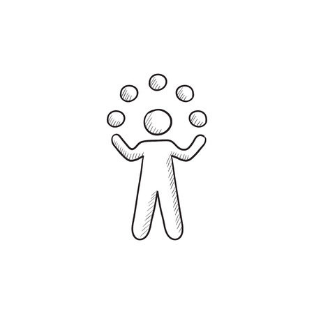 Man jongleren met ballen vector schets pictogram op een achtergrond. Hand getrokken Man jongleren met ballen icoon. Man jongleren met ballen schets pictogram voor infographic, website of app. Stock Illustratie