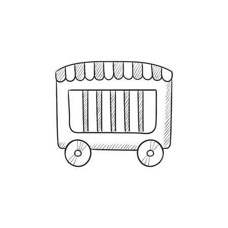 circus caravan: Circus wagon vector sketch icon isolated on background. Hand drawn Circus wagon icon. Circus wagon sketch icon for infographic, website or app.