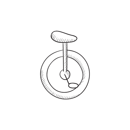 uni: One wheel bicycle vector sketch icon isolated on background. Hand drawn One wheel bicycle icon. One wheel bicycle sketch icon for infographic, website or app.