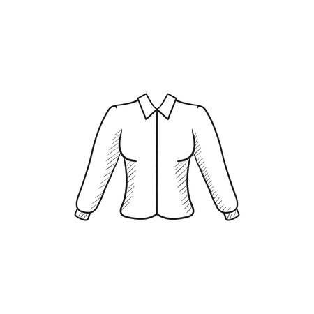 habiliment: Female blouse vector sketch icon isolated on background. Hand drawn Female blouse icon. Female blouse sketch icon for infographic, website or app. Illustration