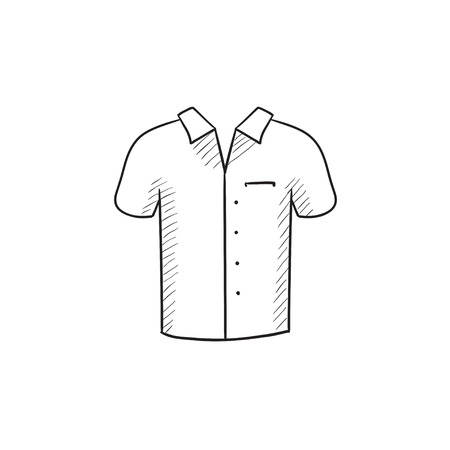 t shirt model: Polo shirt vector sketch icon isolated on background. Hand drawn Polo shirt icon. Polo shirt sketch icon for infographic, website or app.