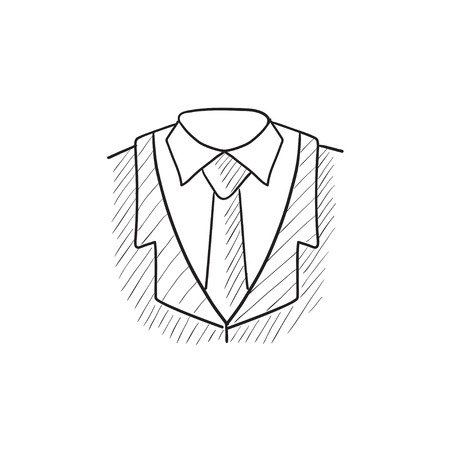 Male suit vector sketch icon isolated on background. Hand drawn Male suit icon. Male suit sketch icon for infographic, website or app.