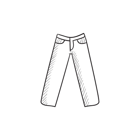 Trousers vector sketch icon isolated on background. Hand drawn Trousers icon. Trousers sketch icon for infographic, website or app. Illustration