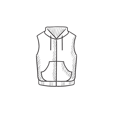 Vest down jacket vector sketch icon isolated on background. Hand drawn Vest down jacket icon. Vest down jacket sketch icon for infographic, website or app. Ilustração
