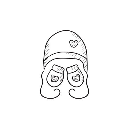 Hat and mittens for children vector sketch icon isolated on background. Hand drawn Hat and mittens for children icon. Hat and mittens for children sketch icon for infographic, website or app. Illustration