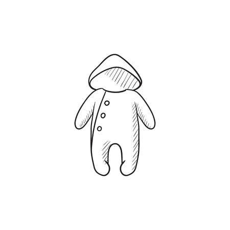 romper: Baby rompers vector sketch icon isolated on background. Hand drawn Baby rompers icon. Baby rompers sketch icon for infographic, website or app. Illustration