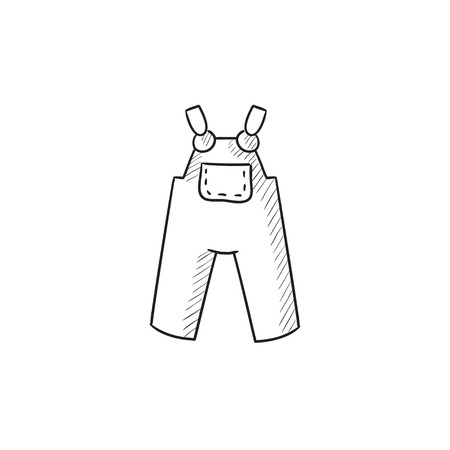 boilersuit: Baby overalls vector sketch icon isolated on background. Hand drawn Baby overalls icon. Baby overalls sketch icon for infographic, website or app. Illustration