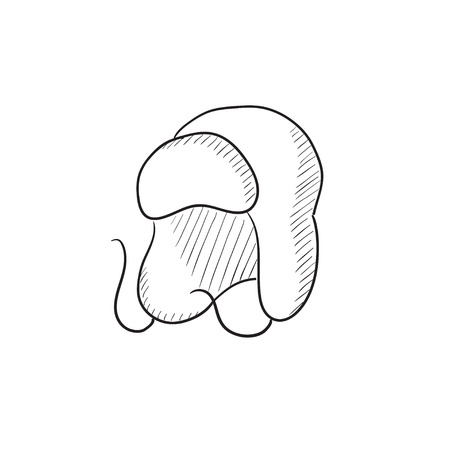 warm: Warm fur cap vector sketch icon isolated on background. Hand drawn Warm fur cap icon. Warm fur cap sketch icon for infographic, website or app.