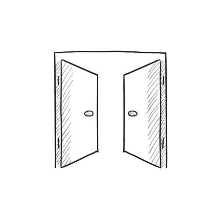 puertas abiertas dibujo icono del vector aislado en el fondo. Dibujado a mano icono de puertas abiertas. puertas abiertas icono boceto de infografía, web o aplicación. Ilustración de vector