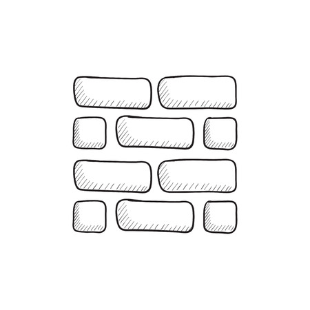 stonework: Brickwall vector sketch icon isolated on background. Hand drawn Brickwall icon. Brickwall sketch icon for infographic, website or app. Illustration