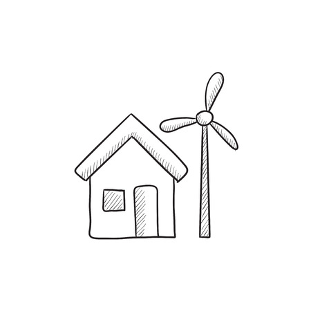 accumulation: House with windmill vector sketch icon isolated on background. Hand drawn House with windmill icon. House with windmill sketch icon for infographic, website or app.
