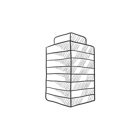 office building: Office building vector sketch icon isolated on background. Hand drawn Office building icon. Office building sketch icon for infographic, website or app.