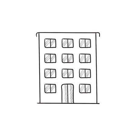 housing project: Residential building vector sketch icon isolated on background. Hand drawn Residential building icon. Residential building sketch icon for infographic, website or app. Illustration