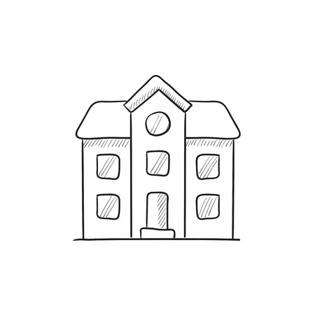two storey: Two storey detached house vector sketch icon isolated on background. Hand drawn Two storey detached house icon. Two storey detached house sketch icon for infographic, website or app. Illustration