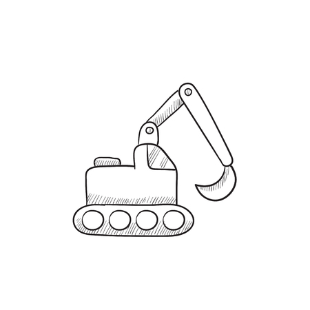 dig up: Excavator vector sketch icon isolated on background. Hand drawn Excavator icon. Excavator sketch icon for infographic, website or app.