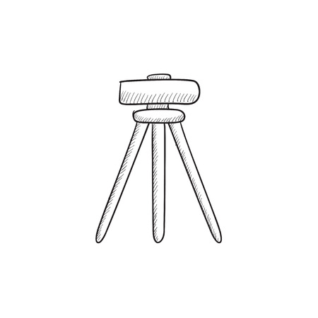 manual test equipment: Theodolite on tripod vector sketch icon isolated on background. Hand drawn Theodolite on tripod icon. Theodolite on tripod sketch icon for infographic, website or app.