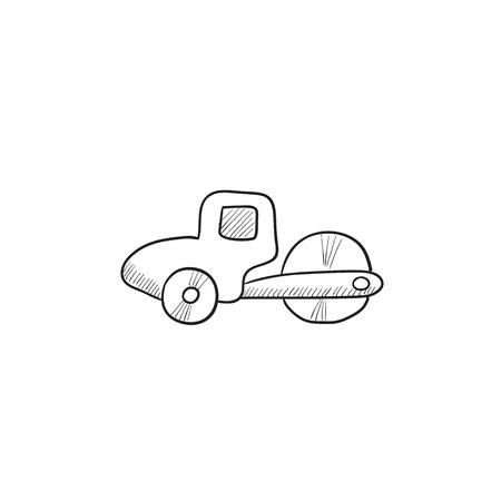 asphalt paving: Road roller vector sketch icon isolated on background. Hand drawn Road roller icon. Road roller sketch icon for infographic, website or app. Illustration
