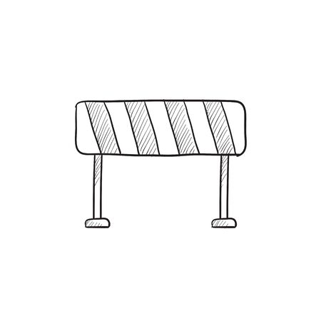 building site: Road barrier vector sketch icon isolated on background. Hand drawn Road barrier icon. Road barrier sketch icon for infographic, website or app. Illustration