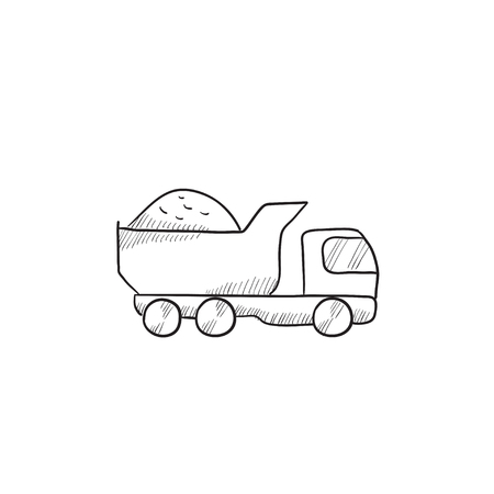 to unload: Dump truck vector sketch icon isolated on background. Hand drawn Dump truck icon. Dump truck sketch icon for infographic, website or app. Illustration