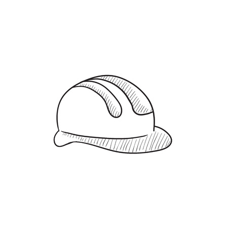 hard: Hard hat vector sketch icon isolated on background. Hand drawn Hard hat icon. Hard hat sketch icon for infographic, website or app.
