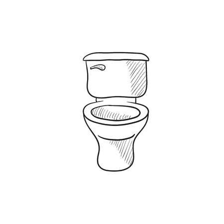 sanitaryware: Lavatory bowl vector sketch icon isolated on background. Hand drawn Lavatory bowl icon. Lavatory bowl sketch icon for infographic, website or app.