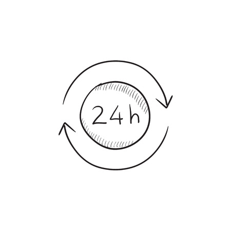 hrs: Service 24 hrs vector sketch icon isolated on background. Hand drawn Service 24 hrs icon. Service 24 hrs sketch icon for infographic, website or app.