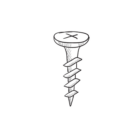 hobnail: Screw vector sketch icon isolated on background. Hand drawn Screw icon. Screw sketch icon for infographic, website or app.