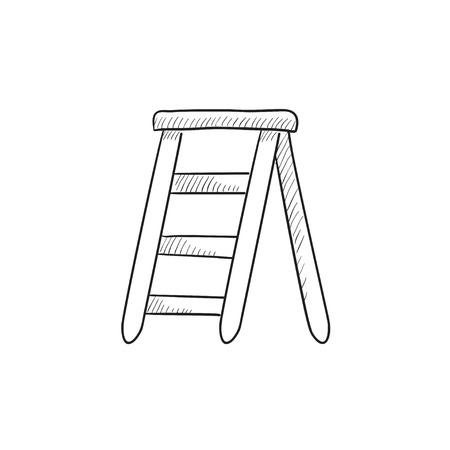 stepladder: Stepladder vector sketch icon isolated on background. Hand drawn Stepladder icon. Stepladder sketch icon for infographic, website or app.