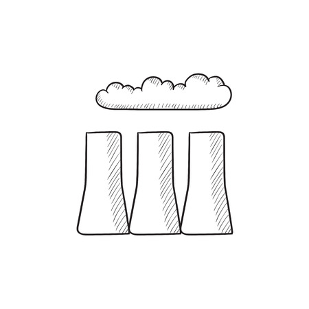 Factory pipes vector sketch icon isolated on background. Hand drawn Factory pipes icon. Factory pipes sketch icon for infographic, website or app.