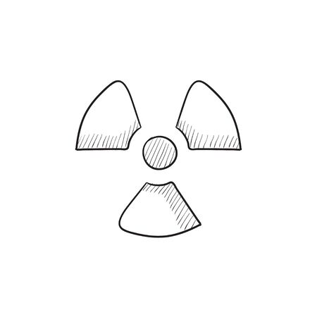 radiation sign: Ionizing radiation sign vector sketch icon isolated on background. Hand drawn Ionizing radiation sign icon. Ionizing radiation sign sketch icon for infographic, website or app. Illustration