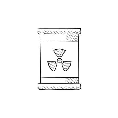 radioactive tank and warning sign: Barrel with ionizing radiation sign vector sketch icon isolated on background. Hand drawn Barrel with radiation sign icon. Barrel with radiation sign sketch icon for infographic, website or app.