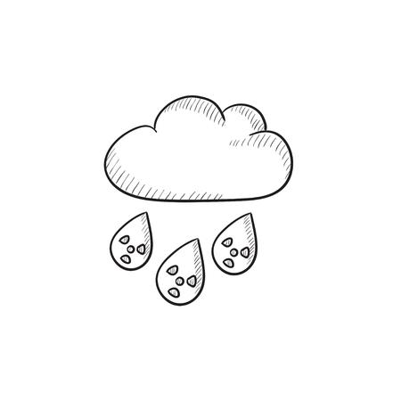 放射性雲と雨ベクター スケッチ アイコンの背景に分離されました。手描き下ろし放射性雲と雨のアイコン。放射性雲と雨は、インフォ グラフィック、web サイトまたはアプリケーションのアイコンをスケッチします。 写真素材 - 57692494
