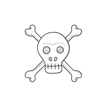 cross bones: Skull and cross bones vector sketch icon isolated on background. Hand drawn Skull and cross bones icon. Skull and cross bones sketch icon for infographic, website or app.