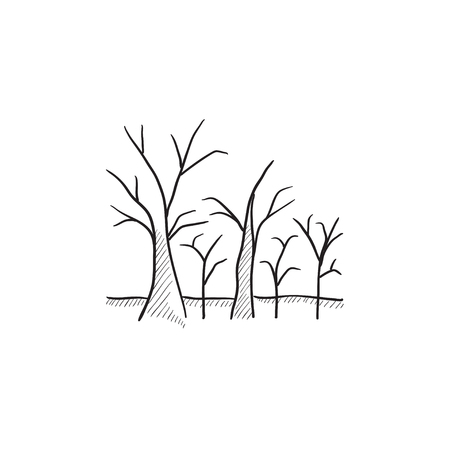 Tree with bare branches vector sketch icon isolated on background. Hand drawn Tree with bare branches icon. Tree with bare branches sketch icon for infographic, website or app. Vectores