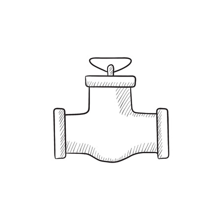 conduit: Gas pipe valve vector sketch icon isolated on background. Hand drawn Gas pipe valve icon. Gas pipe valve sketch icon for infographic, website or app.