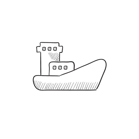 enormous: Cargo container ship vector sketch icon isolated on background. Hand drawn Cargo container ship icon. Cargo container ship sketch icon for infographic, website or app. Illustration