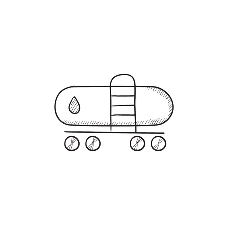 heavy industry: Oil tank vector sketch icon isolated on background. Hand drawn Oil tank icon. Oil tank sketch icon for infographic, website or app. Illustration