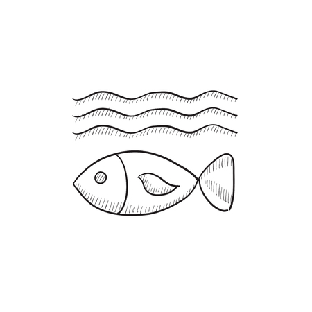 ecological damage: Fish under water vector sketch icon isolated on background. Hand drawn Fish under water icon. Fish under water sketch icon for infographic, website or app.